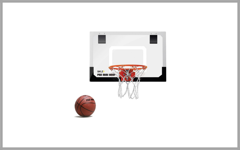 "SKLZ Pro Mini Basketball Hoop with Ball – 18""x12"" Shatterproof Backboard"
